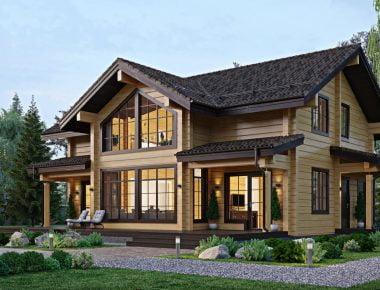 дом из бруса с мансардой