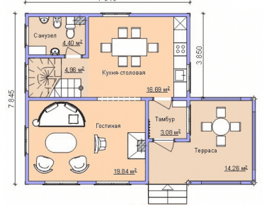 квадратный деревянный дом