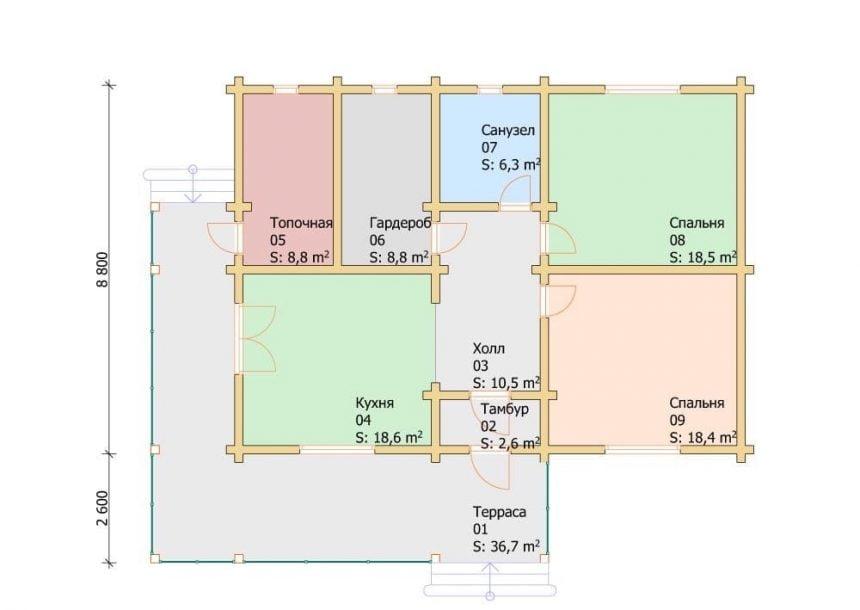 одноэтажные дома из профилированного бруса