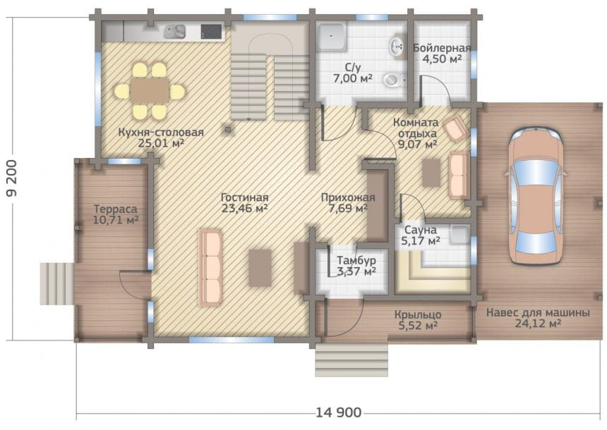 план деревянного дома